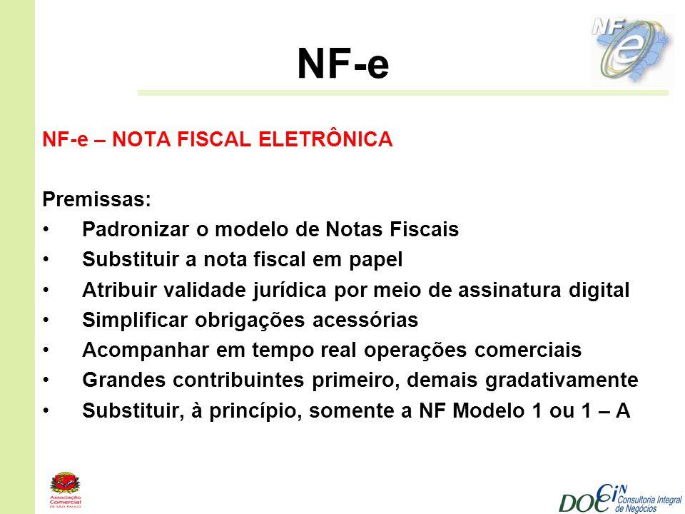 NF-e NF-e – NOTA FISCAL ELETRÔNICA Premissas: Padronizar o modelo de Notas Fiscais Substituir a nota fiscal em papel Atribuir validade jurídica por me