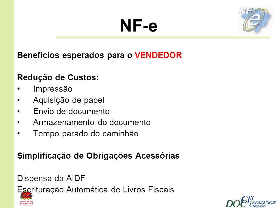 NF-e Benefícios esperados para o VENDEDOR Redução de Custos: Impressão Aquisição de papel Envio de documento Armazenamento do documento Tempo parado d