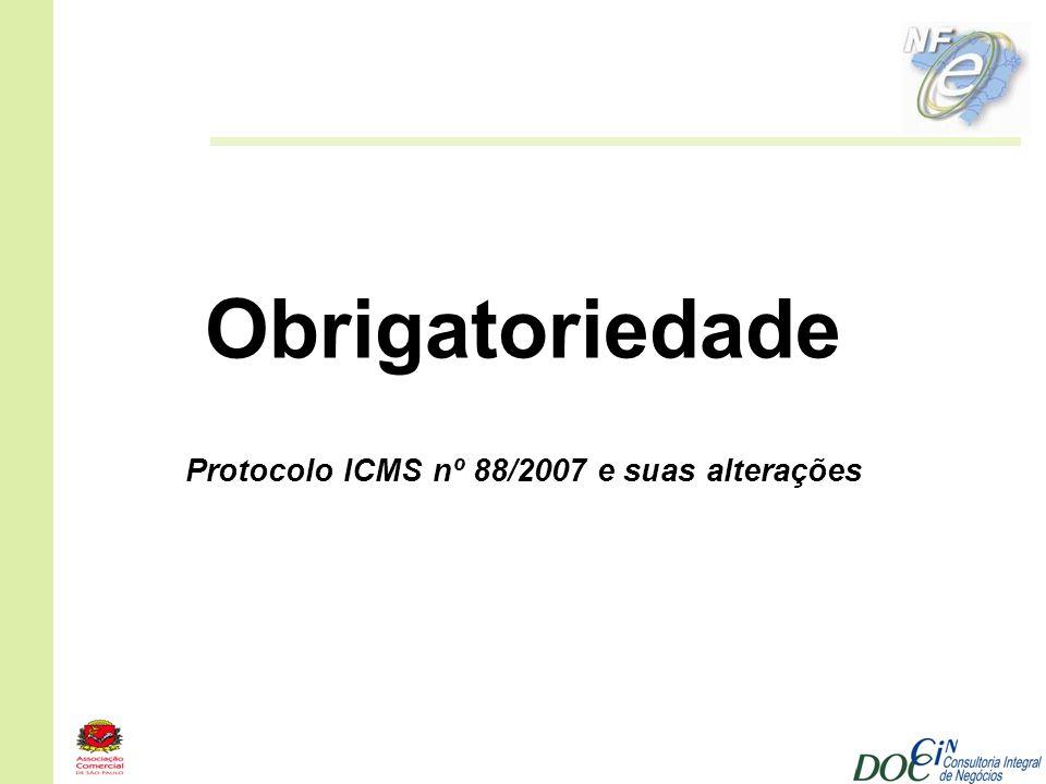 Obrigatoriedade Protocolo ICMS nº 88/2007 e suas alterações