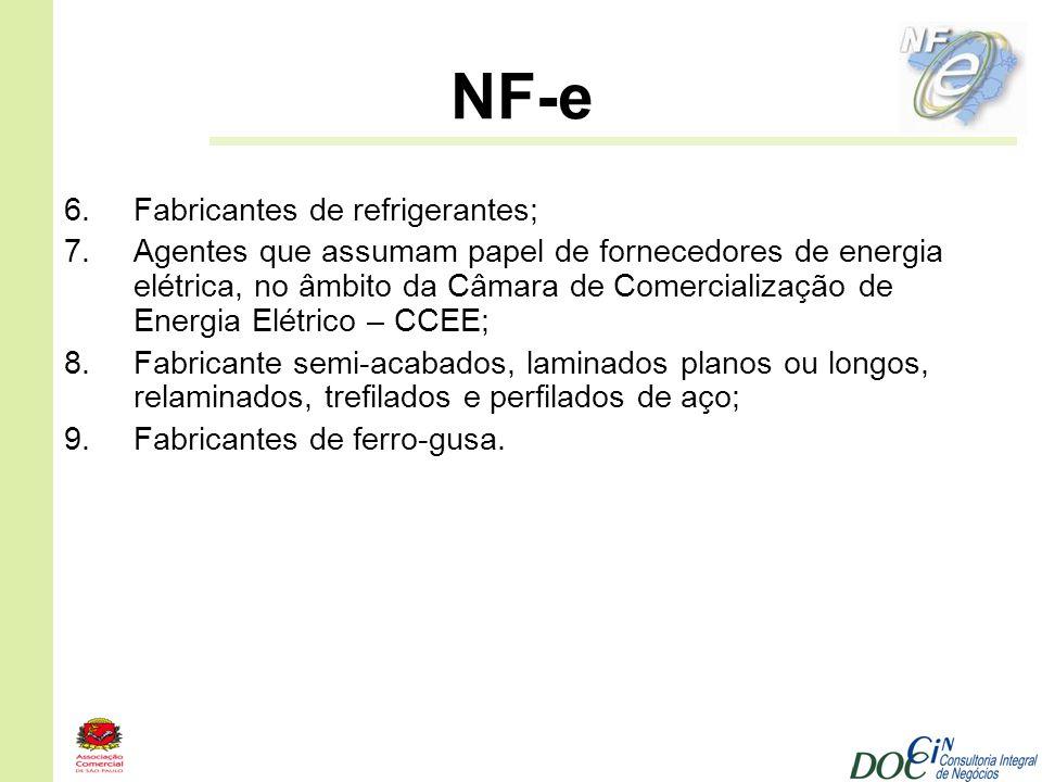 NF-e 6.Fabricantes de refrigerantes; 7.Agentes que assumam papel de fornecedores de energia elétrica, no âmbito da Câmara de Comercialização de Energi