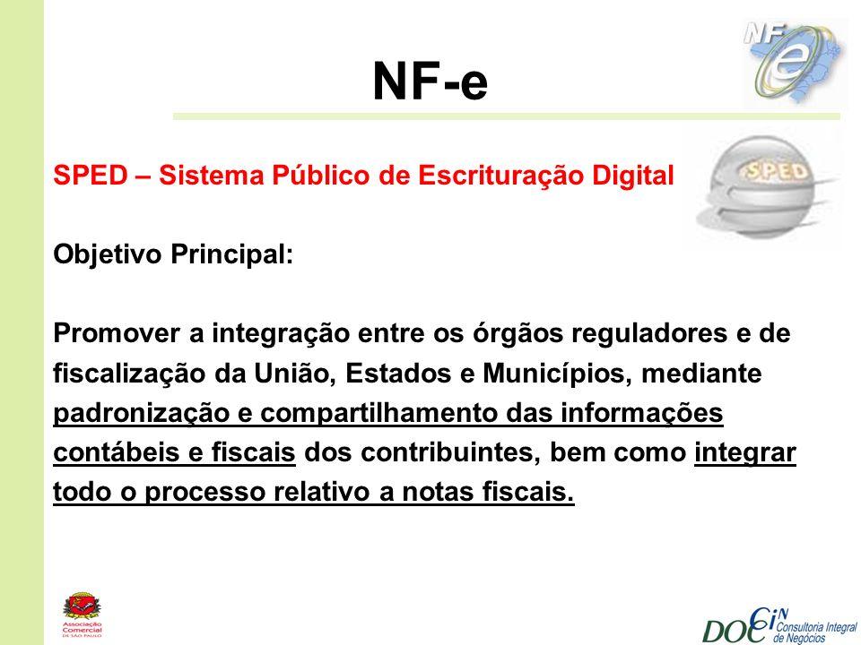 NF-e SPED – Sistema Público de Escrituração Digital Objetivo Principal: Promover a integração entre os órgãos reguladores e de fiscalização da União,