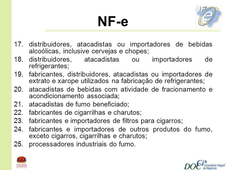 NF-e 17.distribuidores, atacadistas ou importadores de bebidas alcoólicas, inclusive cervejas e chopes; 18.distribuidores, atacadistas ou importadores