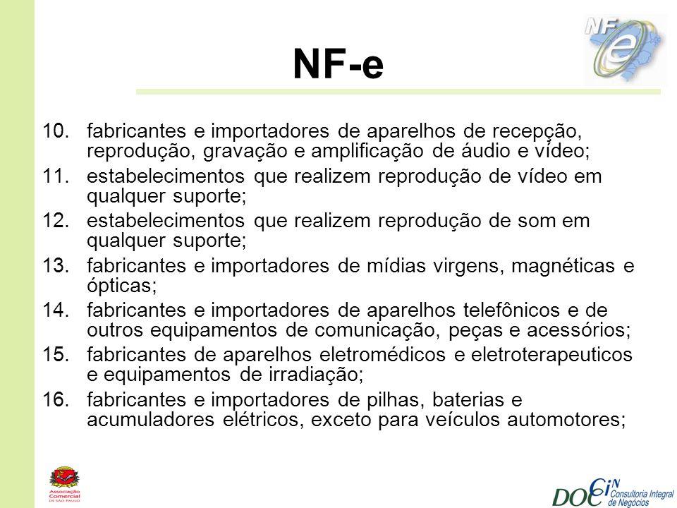 NF-e 10.fabricantes e importadores de aparelhos de recepção, reprodução, gravação e amplificação de áudio e vídeo; 11.estabelecimentos que realizem re