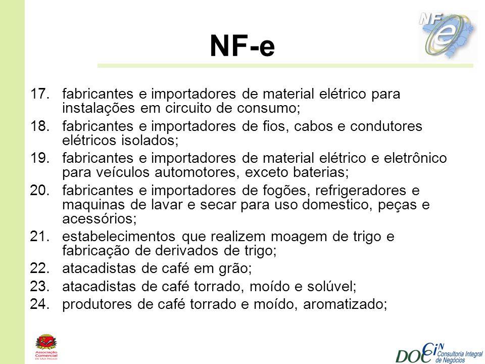 NF-e 17.fabricantes e importadores de material elétrico para instalações em circuito de consumo; 18.fabricantes e importadores de fios, cabos e condut