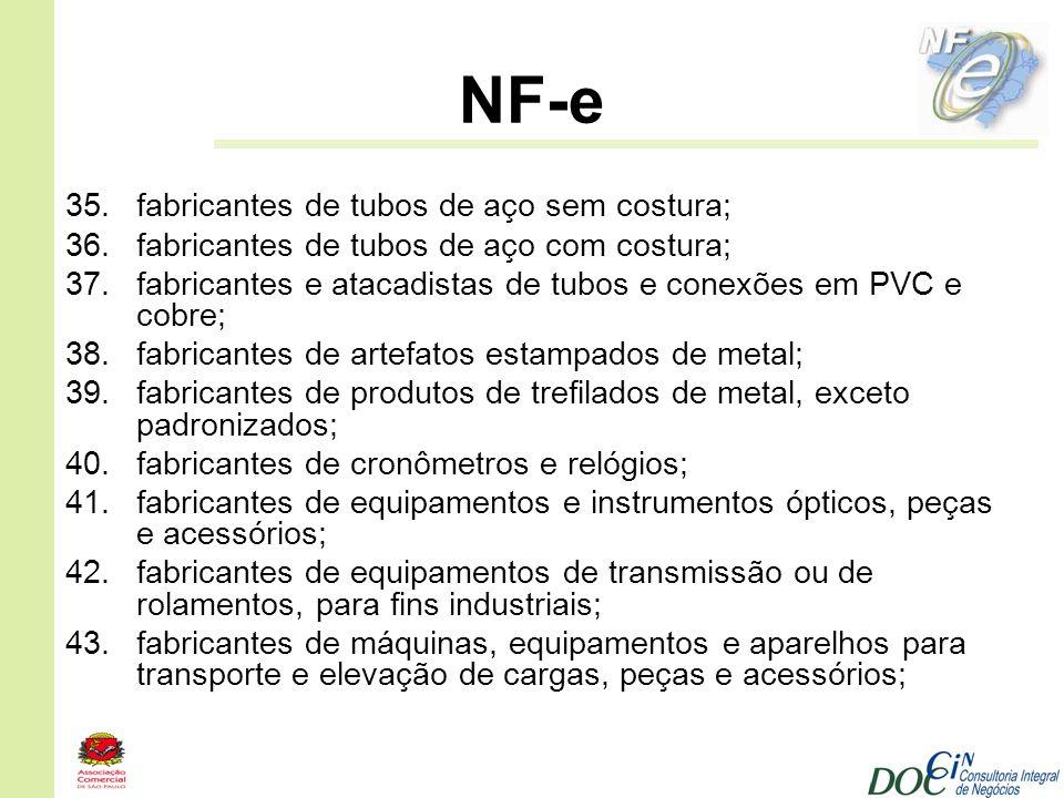 NF-e 35.fabricantes de tubos de aço sem costura; 36.fabricantes de tubos de aço com costura; 37.fabricantes e atacadistas de tubos e conexões em PVC e