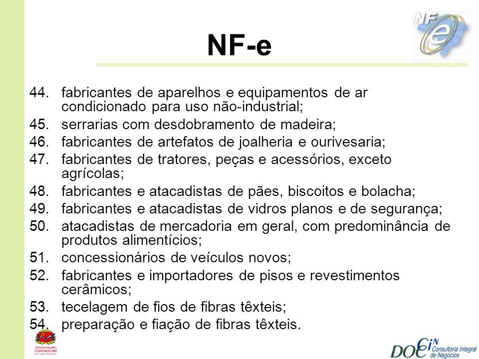 NF-e 44.fabricantes de aparelhos e equipamentos de ar condicionado para uso não-industrial; 45.serrarias com desdobramento de madeira; 46.fabricantes