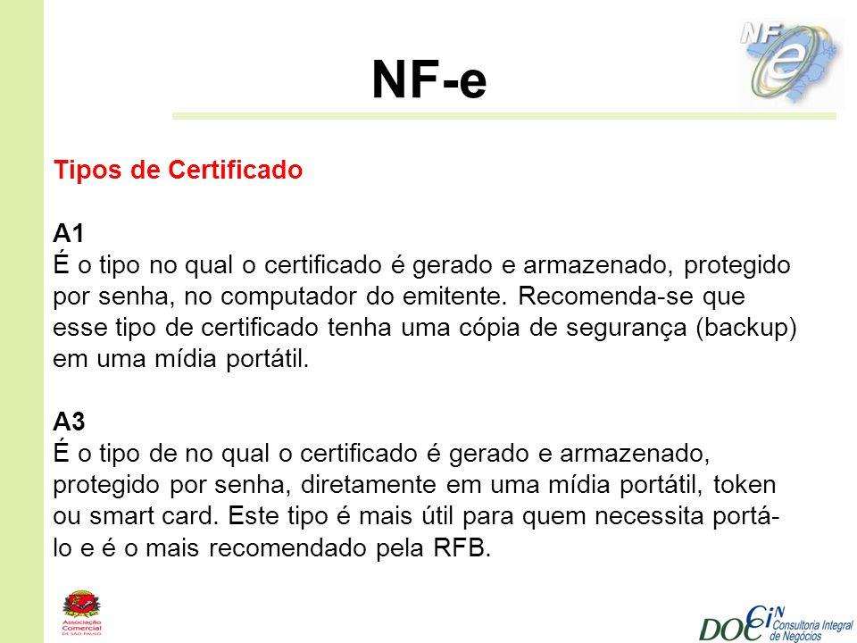 NF-e Tipos de Certificado A1 É o tipo no qual o certificado é gerado e armazenado, protegido por senha, no computador do emitente. Recomenda-se que es