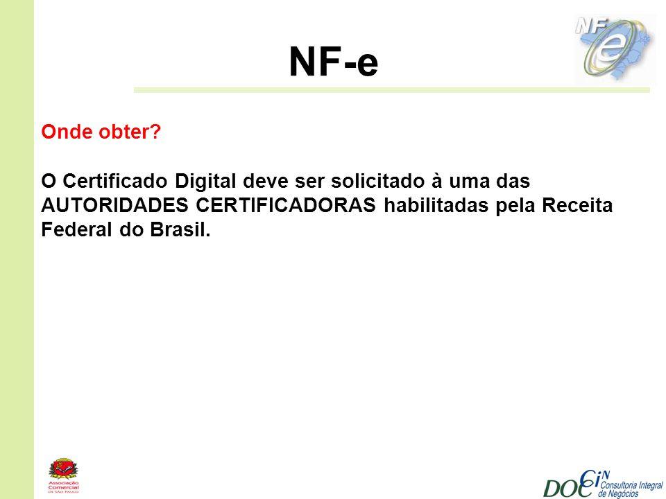 NF-e Onde obter? O Certificado Digital deve ser solicitado à uma das AUTORIDADES CERTIFICADORAS habilitadas pela Receita Federal do Brasil.