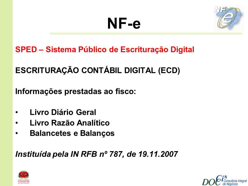 NF-e SPED – Sistema Público de Escrituração Digital ESCRITURAÇÃO CONTÁBIL DIGITAL (ECD) Informações prestadas ao fisco: Livro Diário Geral Livro Razão
