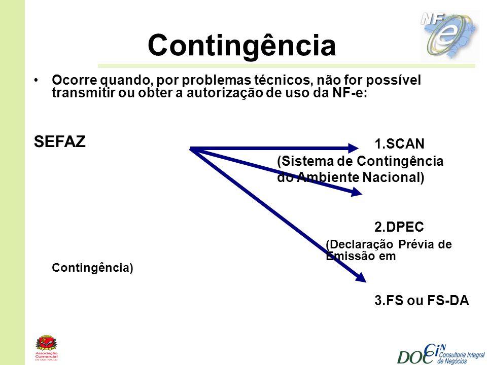 SEFAZ Contingência Ocorre quando, por problemas técnicos, não for possível transmitir ou obter a autorização de uso da NF-e: 1.SCAN (Sistema de Contin