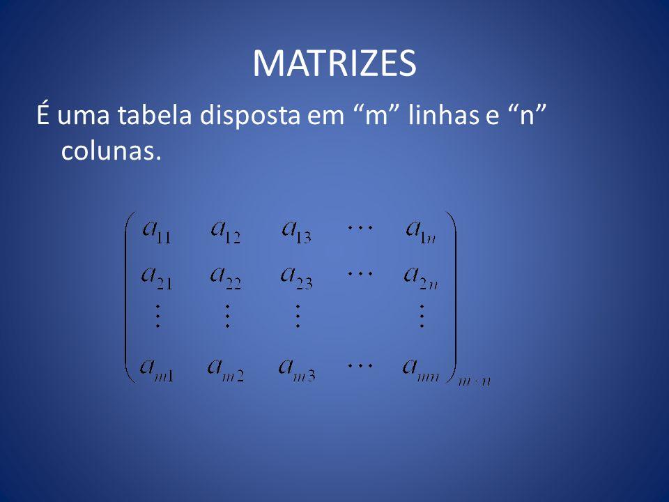MATRIZES É uma tabela disposta em m linhas e n colunas.