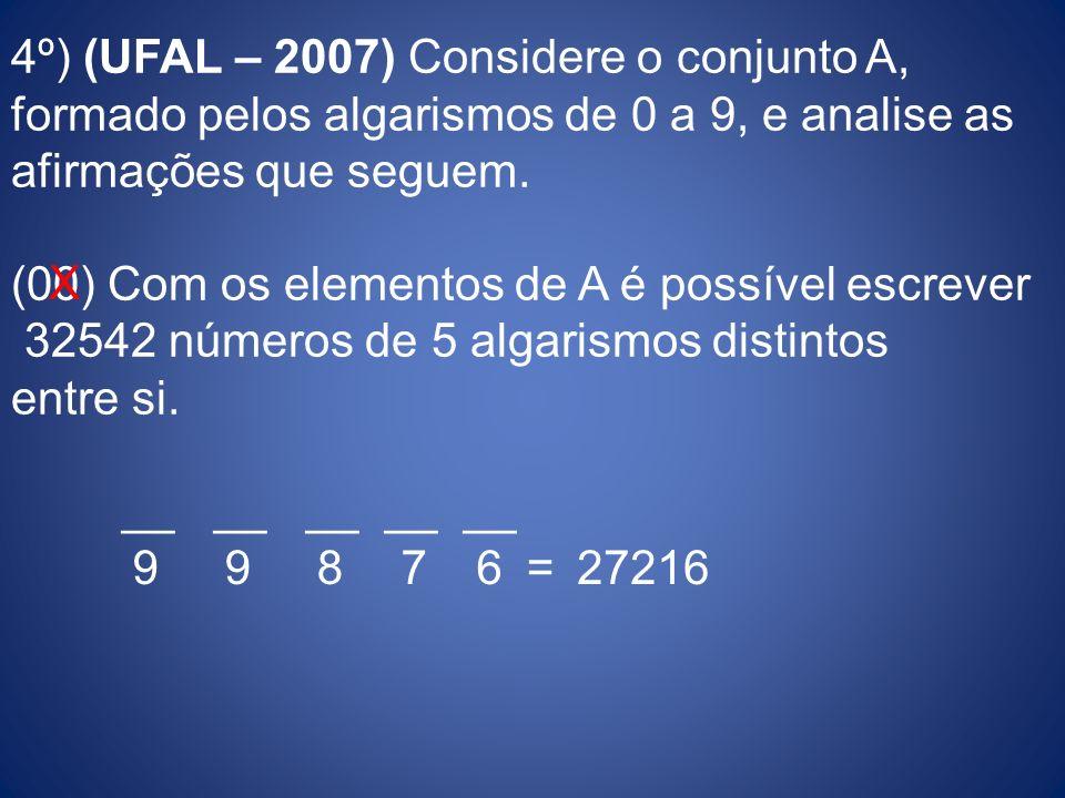 4º) (UFAL – 2007) Considere o conjunto A, formado pelos algarismos de 0 a 9, e analise as afirmações que seguem. (00) Com os elementos de A é possível