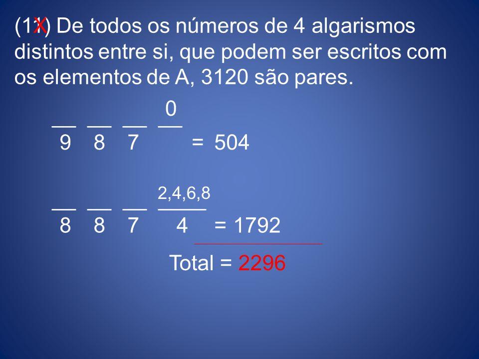(11) De todos os números de 4 algarismos distintos entre si, que podem ser escritos com os elementos de A, 3120 são pares. __ __ __ __ __ ____ 0 2,4,6