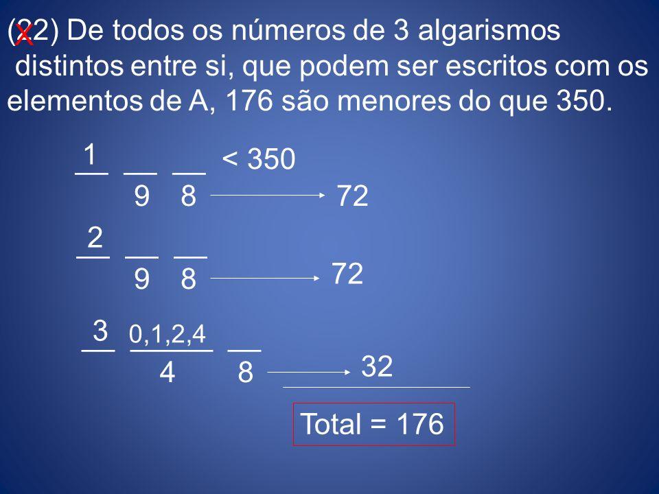 (22) De todos os números de 3 algarismos distintos entre si, que podem ser escritos com os elementos de A, 176 são menores do que 350. __ __ __ < 350