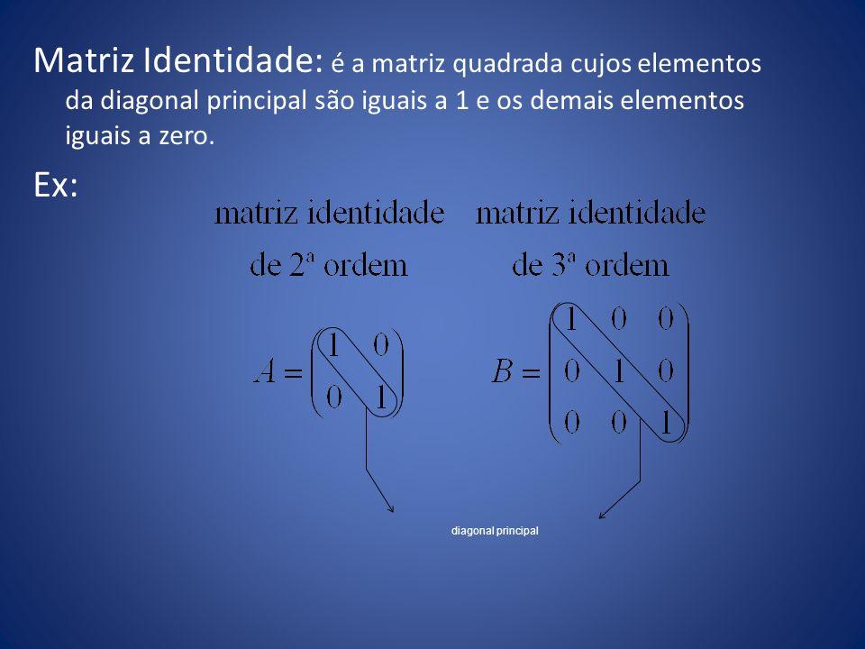Matriz Identidade: é a matriz quadrada cujos elementos da diagonal principal são iguais a 1 e os demais elementos iguais a zero. Ex: diagonal principa