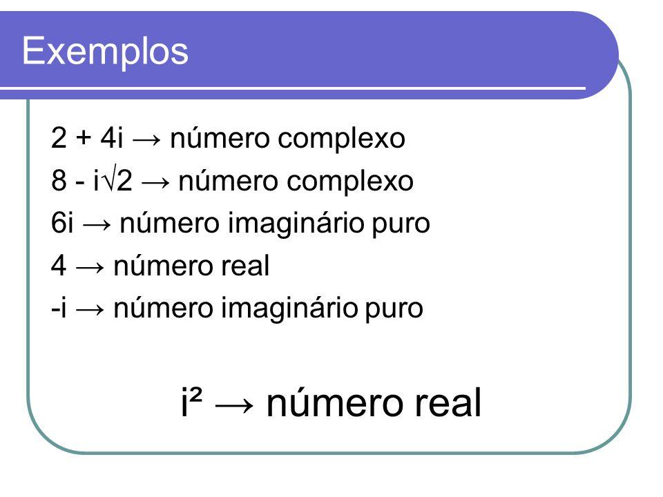 Exemplos 2 + 4i número complexo 8 - i2 número complexo 6i número imaginário puro 4 número real -i número imaginário puro i² número real