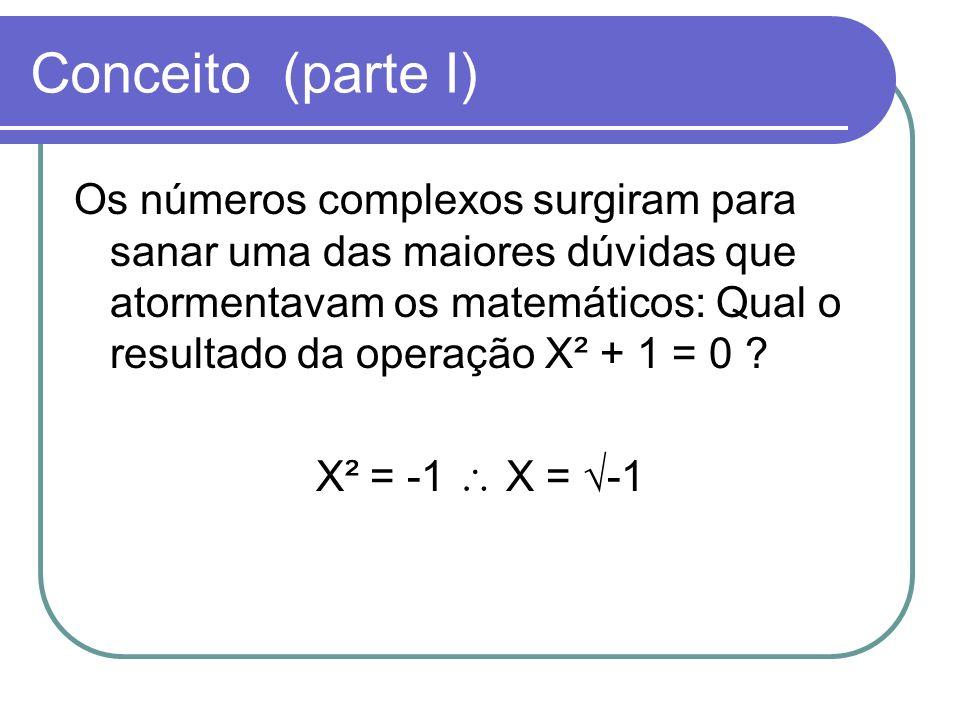 Conceito (parte I) Os números complexos surgiram para sanar uma das maiores dúvidas que atormentavam os matemáticos: Qual o resultado da operação X² +
