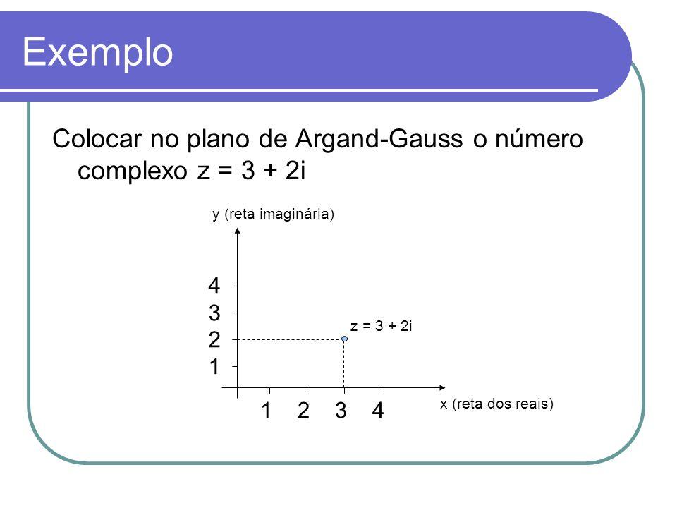 Exemplo Colocar no plano de Argand-Gauss o número complexo z = 3 + 2i 1 2 3 4 43214321 z = 3 + 2i y (reta imaginária) x (reta dos reais)