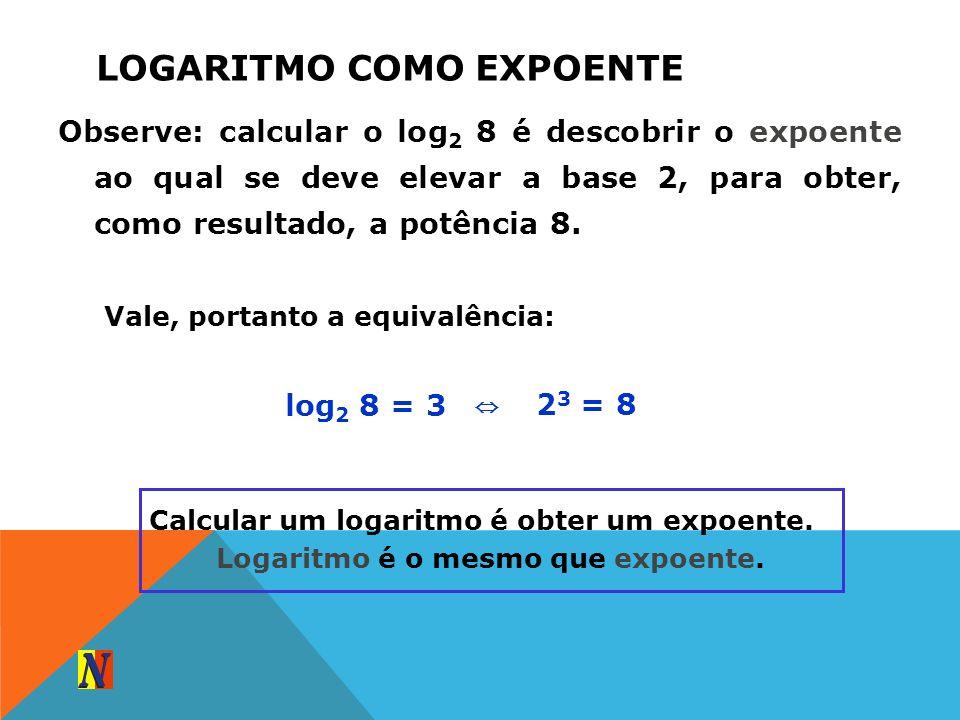LOGARITMO COMO EXPOENTE Observe: calcular o log 2 8 é descobrir o expoente ao qual se deve elevar a base 2, para obter, como resultado, a potência 8.