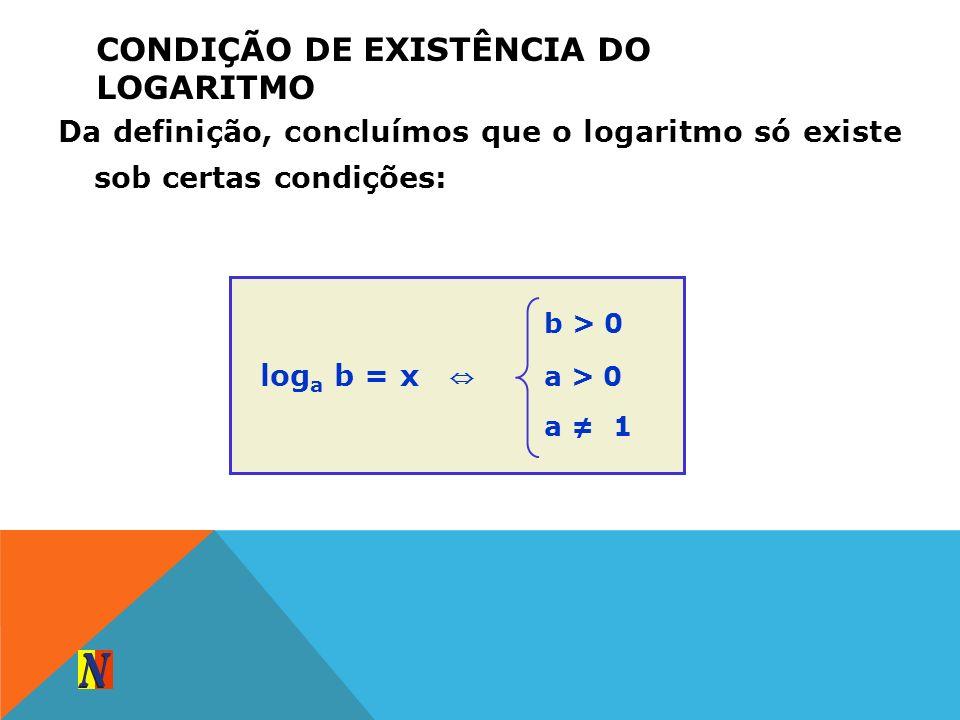 CONDIÇÃO DE EXISTÊNCIA DO LOGARITMO Da definição, concluímos que o logaritmo só existe sob certas condições: log a b = x b > 0 a > 0 a 1