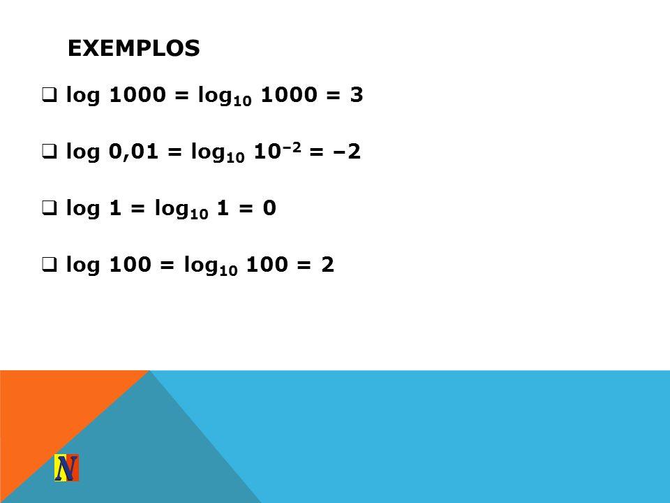 EXEMPLOS log 1000 = log 10 1000 = 3 log 0,01 = log 10 10 –2 = –2 log 1 = log 10 1 = 0 log 100 = log 10 100 = 2