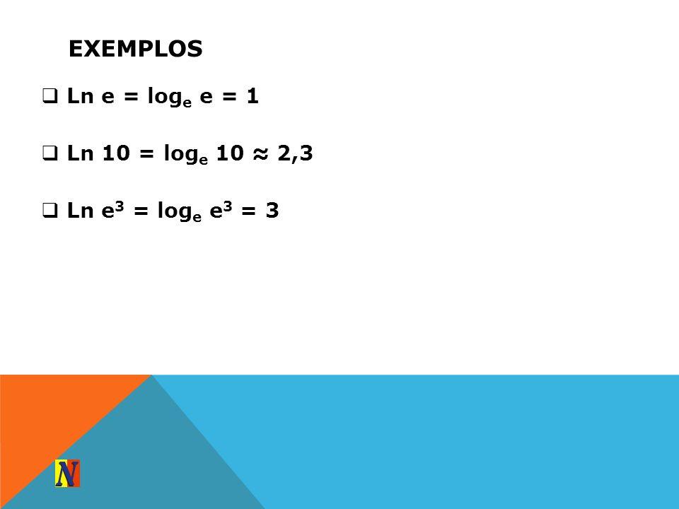 EXEMPLOS Ln e = log e e = 1 Ln 10 = log e 10 2,3 Ln e 3 = log e e 3 = 3