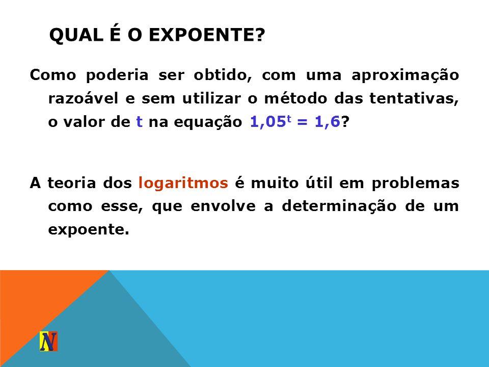 QUAL É O EXPOENTE? Como poderia ser obtido, com uma aproximação razoável e sem utilizar o método das tentativas, o valor de t na equação 1,05 t = 1,6?
