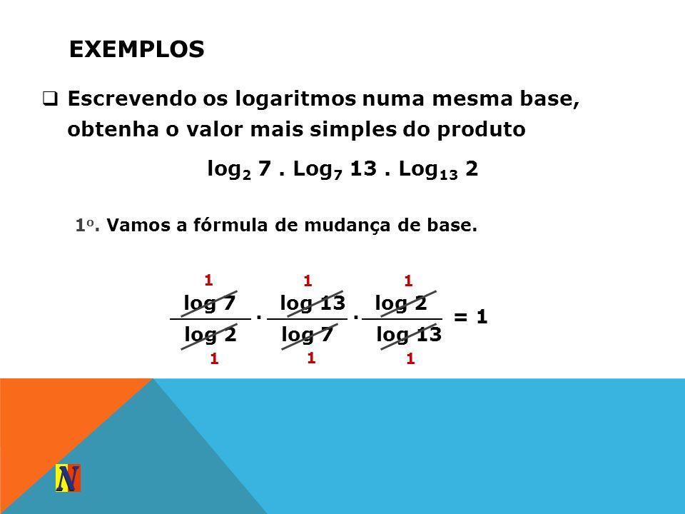 EXEMPLOS Escrevendo os logaritmos numa mesma base, obtenha o valor mais simples do produto log 2 7. Log 7 13. Log 13 2 log 7 log 2. 1 o. Vamos a fórmu
