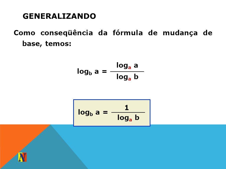 GENERALIZANDO Como conseqüência da fórmula de mudança de base, temos: log a a log a b log b a = 1 log a b log b a =