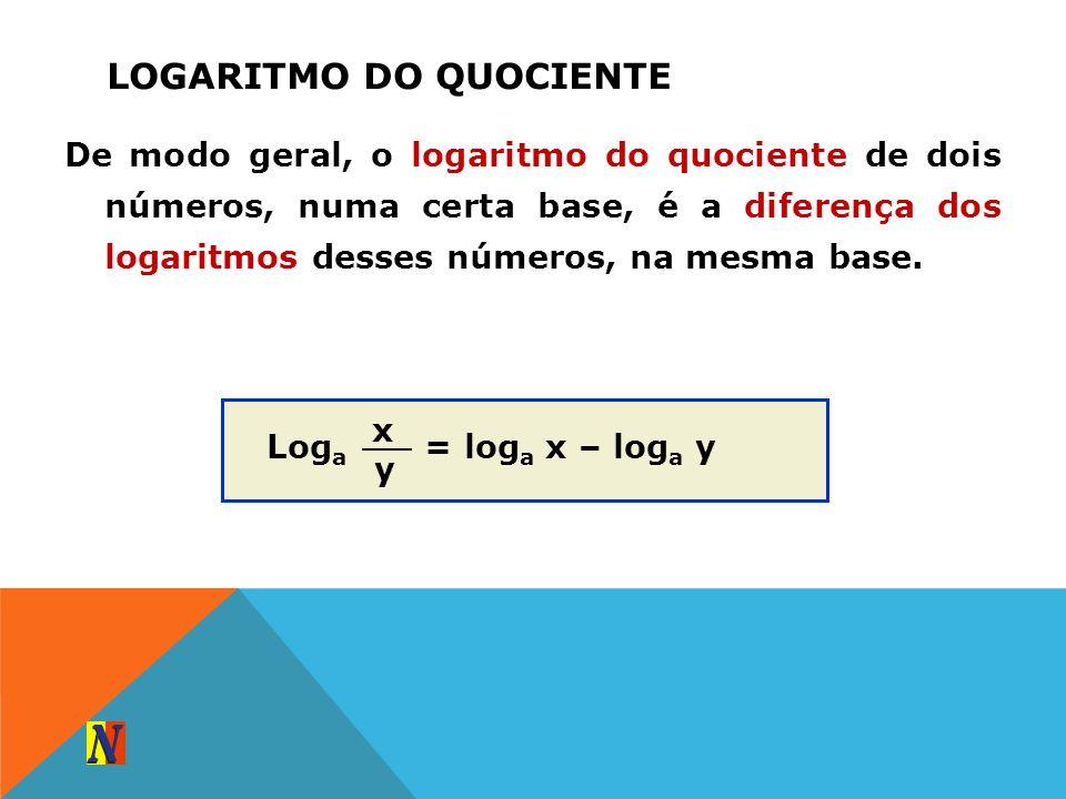 LOGARITMO DO QUOCIENTE De modo geral, o logaritmo do quociente de dois números, numa certa base, é a diferença dos logaritmos desses números, na mesma
