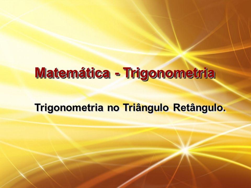 Trigonometria no Triângulo Retângulo Um triângulo é chamado retângulo quando apresenta um de seus ângulos internos igual à 90º.
