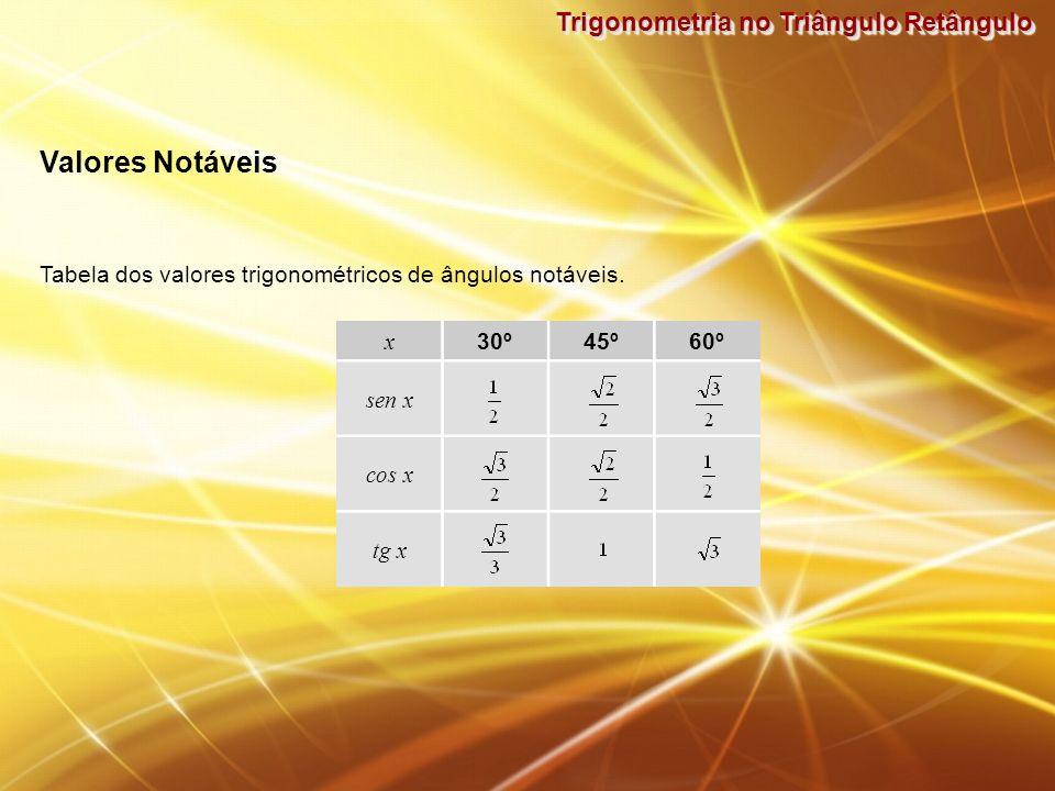 Trigonometria no Triângulo Retângulo Valores Notáveis Tabela dos valores trigonométricos de ângulos notáveis. x 30º45º60º sen x cos x tg x