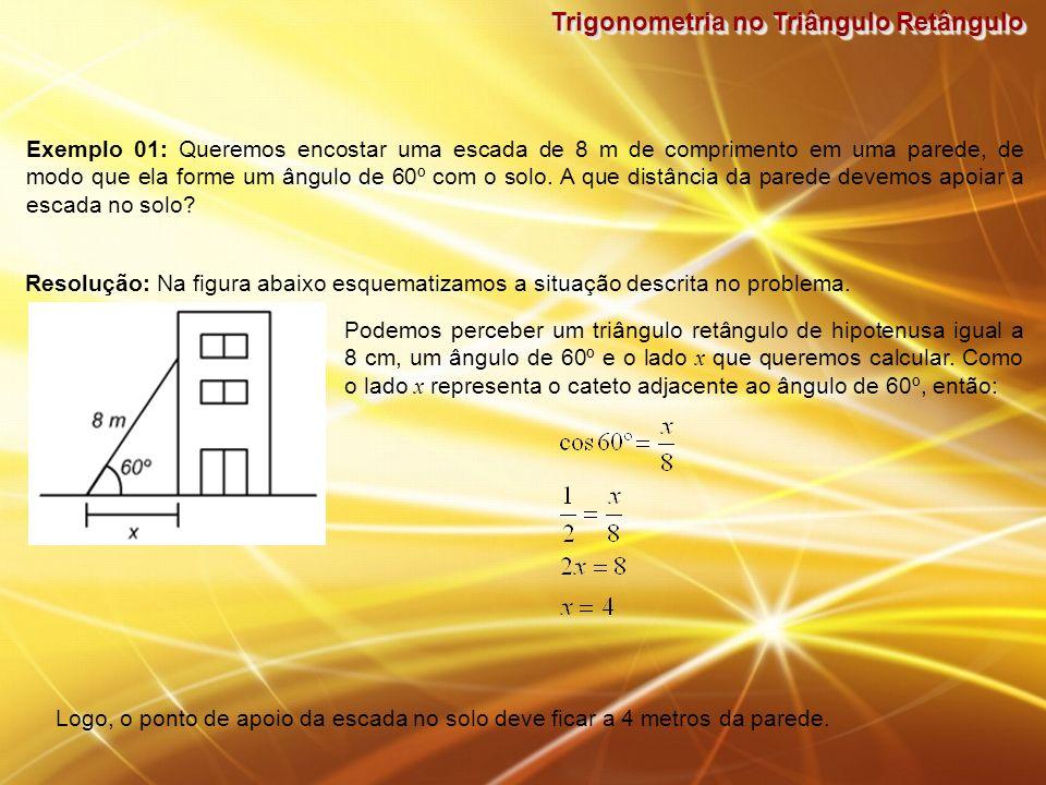 Trigonometria no Triângulo Retângulo Exemplo 01: Queremos encostar uma escada de 8 m de comprimento em uma parede, de modo que ela forme um ângulo de