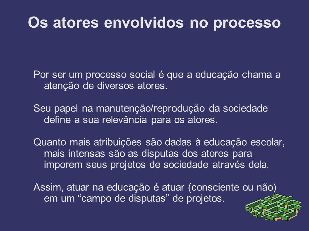 Os atores envolvidos no processo Por ser um processo social é que a educação chama a atenção de diversos atores. Seu papel na manutenção/reprodução da
