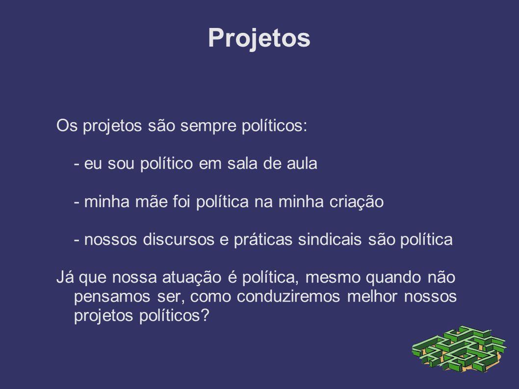 Projetos Os projetos são sempre políticos: - eu sou político em sala de aula - minha mãe foi política na minha criação - nossos discursos e práticas s