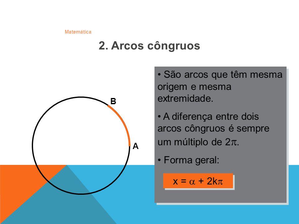 Matemática São arcos que têm mesma origem e mesma extremidade. A diferença entre dois arcos côngruos é sempre um múltiplo de 2. Forma geral: São arcos