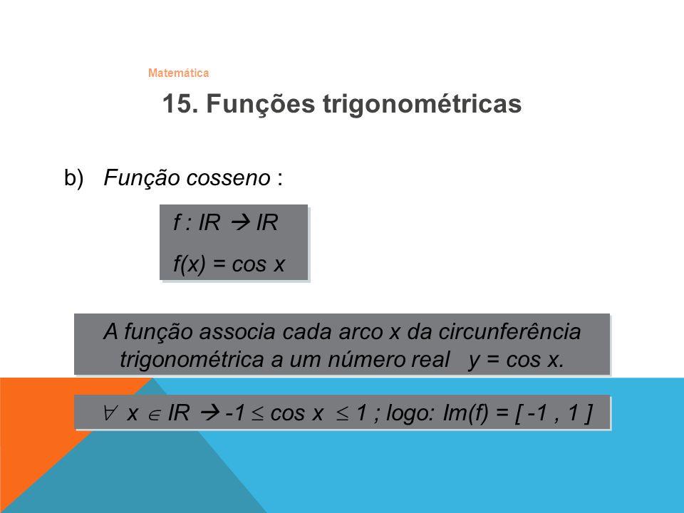 Matemática b) Função cosseno : f : IR IR f(x) = cos x f : IR IR f(x) = cos x A função associa cada arco x da circunferência trigonométrica a um número
