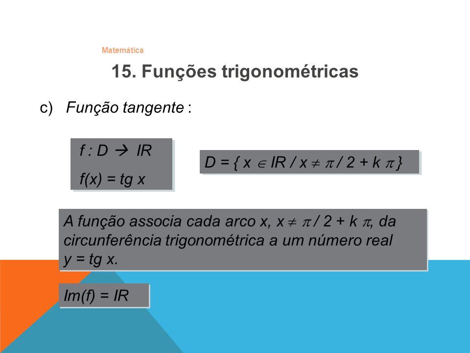 Matemática c) Função tangente : f : D IR f(x) = tg x f : D IR f(x) = tg x A função associa cada arco x, x / 2 + k, da circunferência trigonométrica a