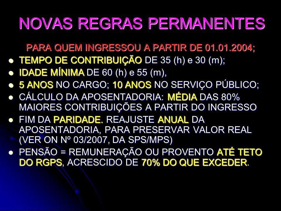 NOVAS REGRAS PERMANENTES PARA QUEM INGRESSOU A PARTIR DE 01.01.2004; TEMPO DE CONTRIBUIÇÃO DE 35 (h) e 30 (m); TEMPO DE CONTRIBUIÇÃO DE 35 (h) e 30 (m