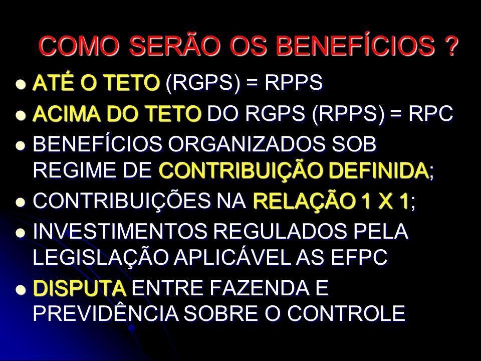 COMO SERÃO OS BENEFÍCIOS ? ATÉ O TETO (RGPS) = RPPS ATÉ O TETO (RGPS) = RPPS ACIMA DO TETO DO RGPS (RPPS) = RPC ACIMA DO TETO DO RGPS (RPPS) = RPC BEN