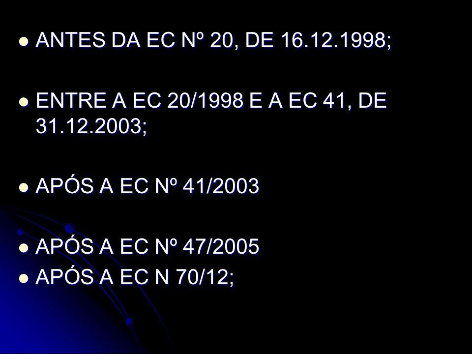 ANTES DA EC Nº 20, de 16.12.1998 PARA QUEM IMPLEMENTOU AS CONDIÇÕES PARA A APOSENTADORIA ANTES DE 16.12.1998 CRITÉRIO POR TEMPO DE SERVIÇO; SEM IDADE MÍNIMA; APOS.