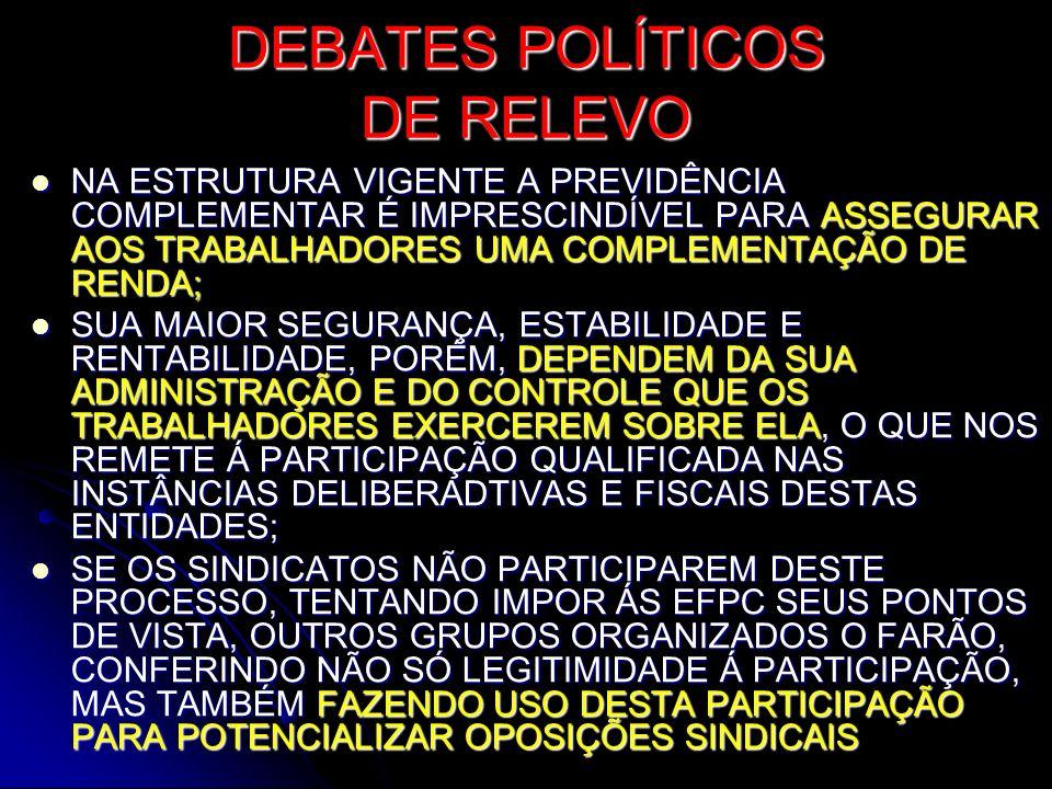 DEBATES POLÍTICOS DE RELEVO NA ESTRUTURA VIGENTE A PREVIDÊNCIA COMPLEMENTAR É IMPRESCINDÍVEL PARA ASSEGURAR AOS TRABALHADORES UMA COMPLEMENTAÇÃO DE RE