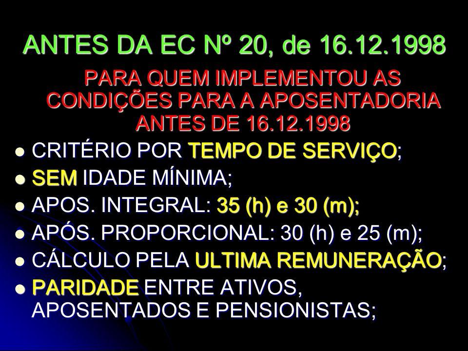 PROFESSORES ANTES DA EC Nº 20, de 16.12.1998 PARA QUEM IMPLEMENTOU AS CONDIÇÕES PARA A APOSENTADORIA ANTES DE 16.12.1998 ABRANGIA TODOS OS DOCENTES ABRANGIA TODOS OS DOCENTES CRITÉRIO POR TEMPO DE SERVIÇO; CRITÉRIO POR TEMPO DE SERVIÇO; SEM IDADE MÍNIMA; SEM IDADE MÍNIMA; APOS.