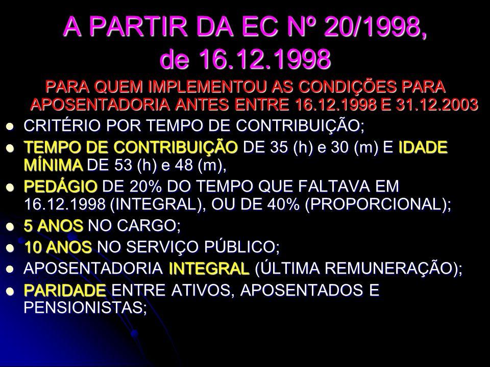 PROFESSORES A PARTIR DA EC Nº 20/1998,de 16.12.1998 PARA QUEM IMPLEMENTOU AS CONDIÇÕES PARA APOSENTADORIA ANTES ENTRE 16.12.1998 E 31.12.2003 EXCLUSIVAMENTE PARA ENSINO FUNDAMENTAL E MÉDIO; EXCLUSIVAMENTE PARA ENSINO FUNDAMENTAL E MÉDIO; TEMPO DE SERVIÇO ATÉ 16.12.1998 CONTADO COM, ACRÉSCIMO DE 17% (H) E 20%(M) TEMPO DE SERVIÇO ATÉ 16.12.1998 CONTADO COM, ACRÉSCIMO DE 17% (H) E 20%(M) TEMPO DE CONTRIBUIÇÃO DE 35 (h) e 30 (m) E IDADE MÍNIMA DE 53 (h) e 48 (m), TEMPO DE CONTRIBUIÇÃO DE 35 (h) e 30 (m) E IDADE MÍNIMA DE 53 (h) e 48 (m), PEDÁGIO DE 20% DO TEMPO QUE FALTAVA EM 16.12.1998 (INTEGRAL), PEDÁGIO DE 20% DO TEMPO QUE FALTAVA EM 16.12.1998 (INTEGRAL), APOSENTADORIA PROPORCIONAL DE 70%, ACRESCIDA APOSENTADORIA PROPORCIONAL DE 70%, ACRESCIDA DE 5% A CADA ANO A MAIS; DE 5% A CADA ANO A MAIS; 5 ANOS NO CARGO; 5 ANOS NO CARGO; 10 ANOS NO SERVIÇO PÚBLICO; 10 ANOS NO SERVIÇO PÚBLICO; APOSENTADORIA INTEGRAL (ÚLTIMA REMUNERAÇÃO); APOSENTADORIA INTEGRAL (ÚLTIMA REMUNERAÇÃO); PARIDADE ENTRE ATIVOS, APOSENTADOS E PENSIONISTAS ; PARIDADE ENTRE ATIVOS, APOSENTADOS E PENSIONISTAS ;