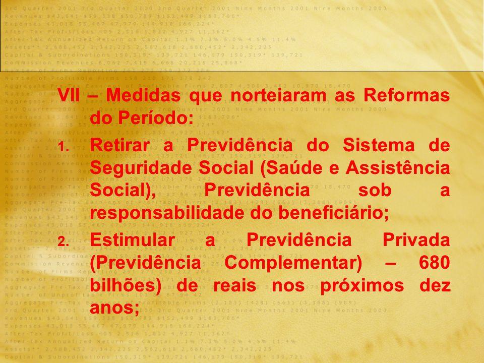 VII – Medidas que norteiaram as Reformas do Período: 1. Retirar a Previdência do Sistema de Seguridade Social (Saúde e Assistência Social), Previdênci