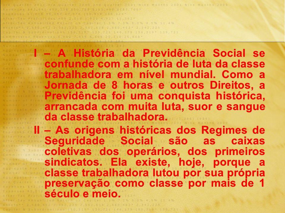 I – A História da Previdência Social se confunde com a história de luta da classe trabalhadora em nível mundial. Como a Jornada de 8 horas e outros Di