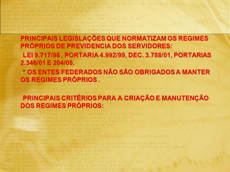 PRINCIPAIS LEGISLAÇÕES QUE NORMATIZAM OS REGIMES PRÓPRIOS DE PREVIDENCIA DOS SERVIDORES: LEI 9.717/98, PORTARIA 4.992/99, DEC. 3.788/01, PORTARIAS 2.3