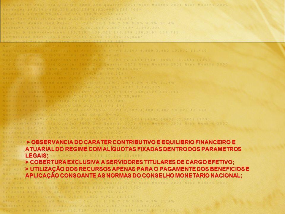 . > OBSERVANCIA DO CARATER CONTRIBUTIVO E EQUILIBRIO FINANCEIRO E ATUARIAL DO REGIME COM ALÍQUOTAS FIXADAS DENTRO DOS PARAMETROS LEGAIS; > COBERTURA EXCLUSIVA A SERVIDORES TITULARES DE CARGO EFETIVO; > UTILIZAÇÃO DOS RECURSOS APENAS PARA O PAGAMENTE DOS BENEFICIOS E APLICAÇÃO CONSOANTE AS NORMAS DO CONSELHO MONETARIO NACIONAL;
