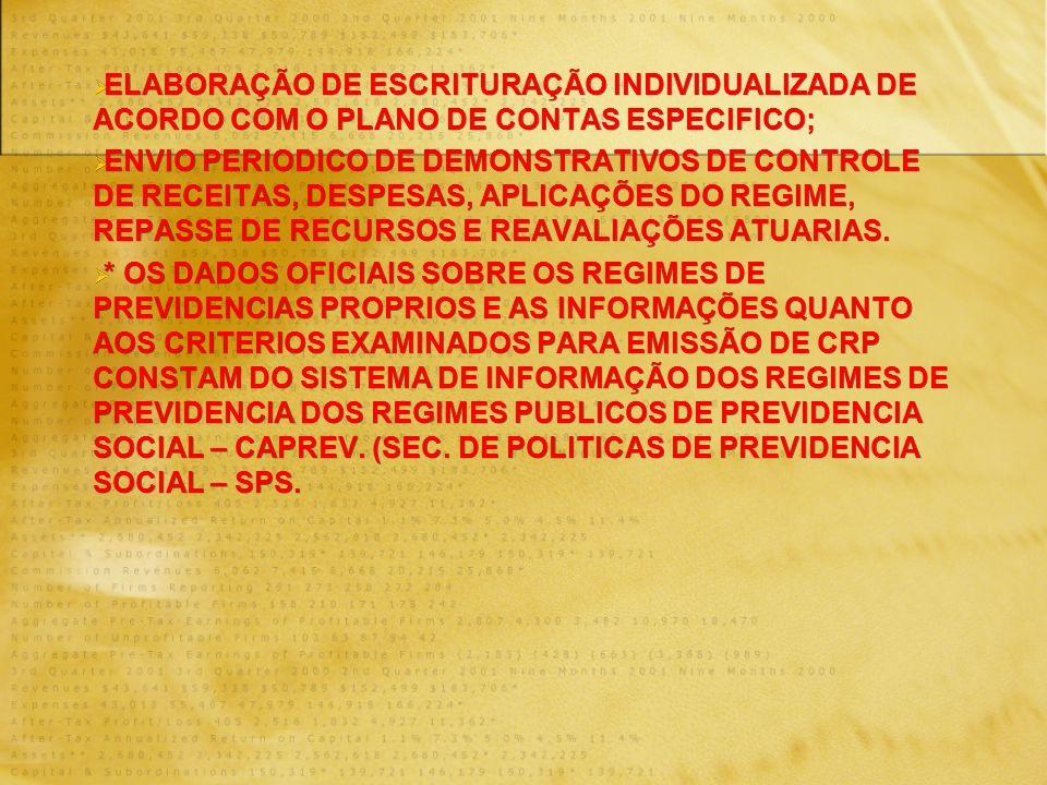ELABORAÇÃO DE ESCRITURAÇÃO INDIVIDUALIZADA DE ACORDO COM O PLANO DE CONTAS ESPECIFICO; ENVIO PERIODICO DE DEMONSTRATIVOS DE CONTROLE DE RECEITAS, DESPESAS, APLICAÇÕES DO REGIME, REPASSE DE RECURSOS E REAVALIAÇÕES ATUARIAS.