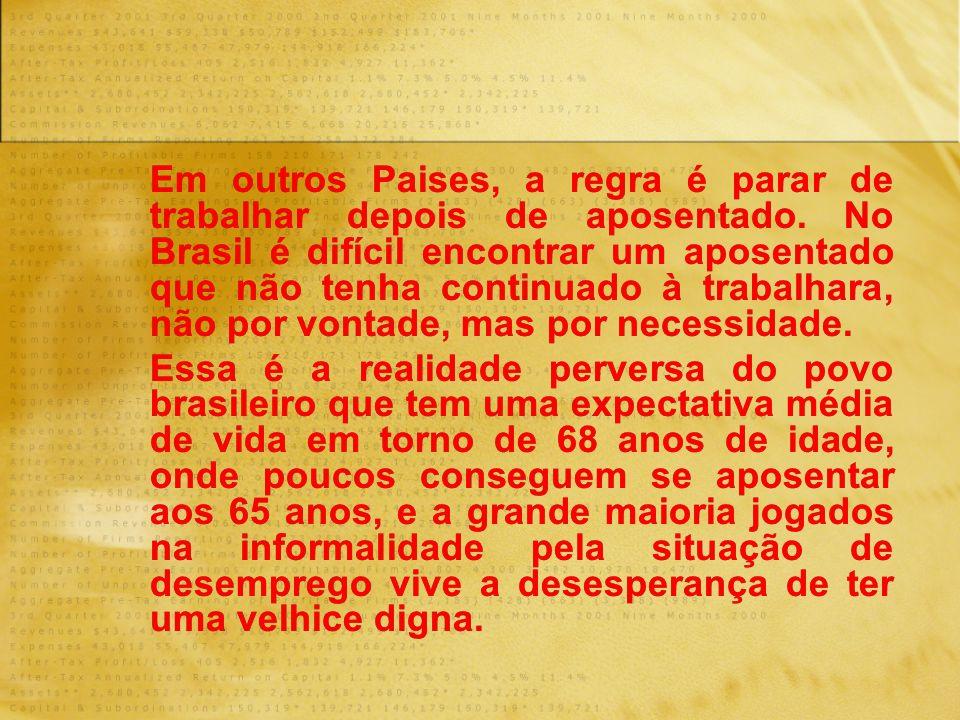 Em outros Paises, a regra é parar de trabalhar depois de aposentado. No Brasil é difícil encontrar um aposentado que não tenha continuado à trabalhara